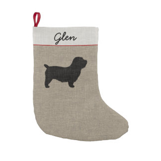 Glen of Imaal Terrier Silhouette with Text Small Christmas Stocking
