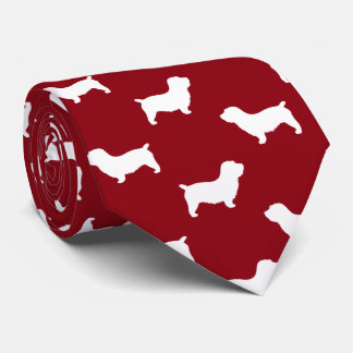 Glen of Imaal Terrier Silhouettes Pattern Red Tie