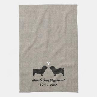 Glen of Imaal Terrier Silhouettes with Heart Tea Towel