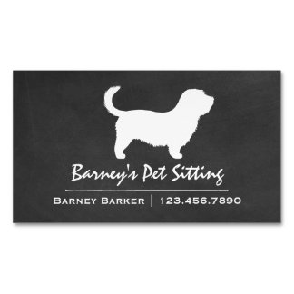 Glen of Imaal Terrier with Long Tail Silhouette Magnetic Business Cards