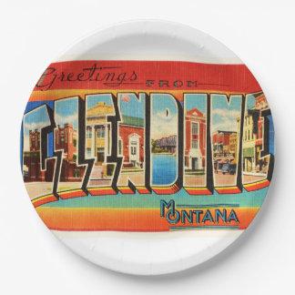 Glendive Montana MT Old Vintage Travel Souvenir 9 Inch Paper Plate