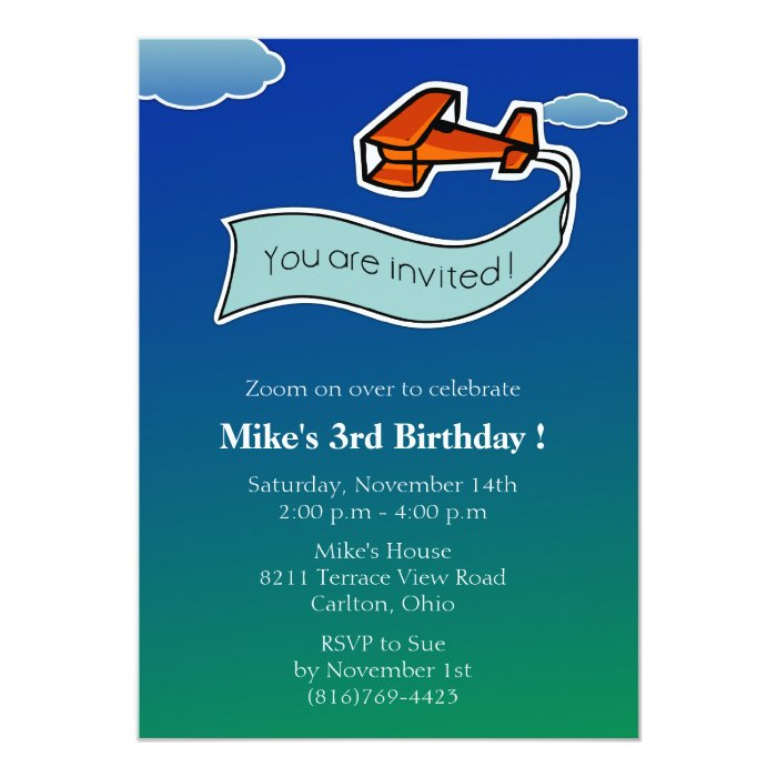 Glider -Birthday Party Invitation-2 13 Cm X 18 Cm Invitation Card