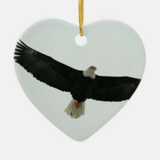 Gliding bald eagle ceramic ornament