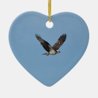 Gliding Osprey Ceramic Heart Decoration