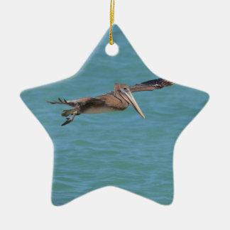 Gliding Pelican Ceramic Ornament