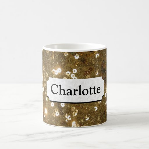 Glistening Gold Sequin Personalized Mugs