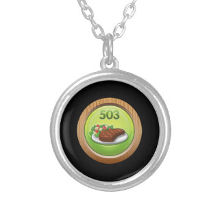 Glitch Achievement noted epicure Silver Plated Necklace