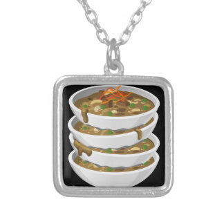 Glitch Food awesome stew Silver Plated Necklace