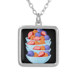 Glitch Food berry bowl Silver Plated Necklace