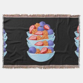Glitch Food berry bowl Throw Blanket