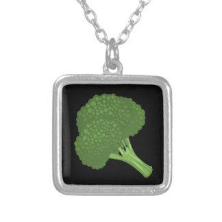 Glitch Food broccoli Silver Plated Necklace