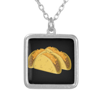 Glitch Food cold taco Silver Plated Necklace