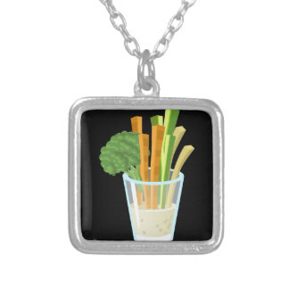 Glitch Food common crudites Silver Plated Necklace