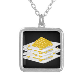Glitch Food corn off the cob Silver Plated Necklace