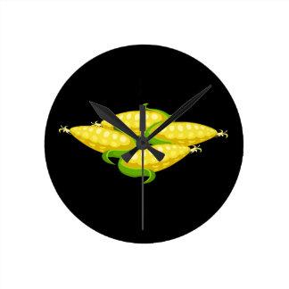 Glitch Food corn Round Clock