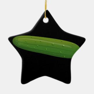Glitch Food cucumber Ceramic Ornament