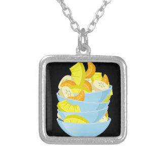 Glitch Food exotic fruit salad Silver Plated Necklace