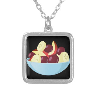 Glitch Food fruit salad Silver Plated Necklace