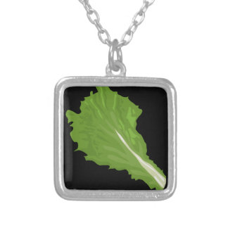 Glitch Food green leaf Silver Plated Necklace