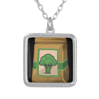 Glitch Food green Silver Plated Necklace