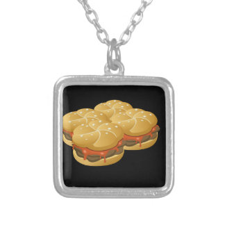 Glitch Food hearty groddle sammich Silver Plated Necklace