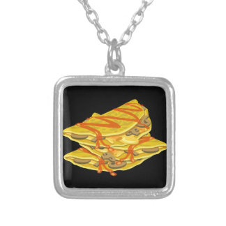 Glitch Food hearty omelet Silver Plated Necklace