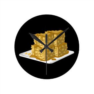 Glitch Food oaty cake Round Clock