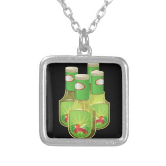 Glitch Food oily dressing Silver Plated Necklace