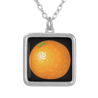 Glitch Food orange Silver Plated Necklace
