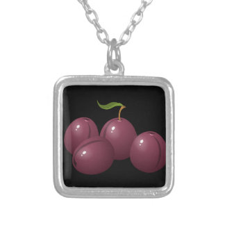 Glitch Food plum Silver Plated Necklace