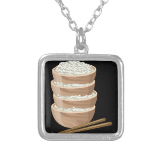 Glitch Food proper rice Silver Plated Necklace