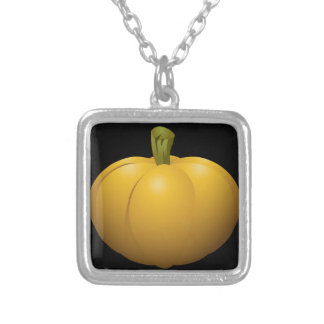 Glitch Food pumpkin Silver Plated Necklace