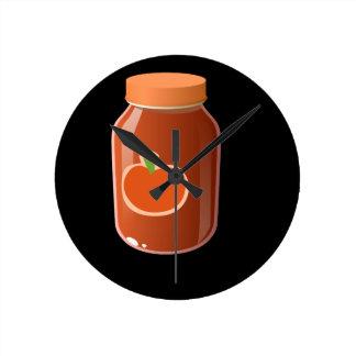 Glitch Food red Round Clock