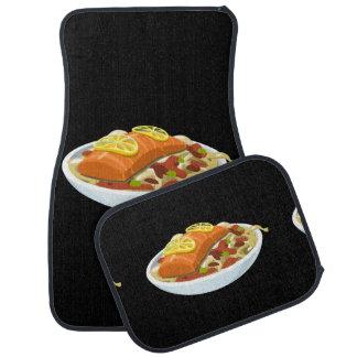 Glitch Food salmon jaella Floor Mat