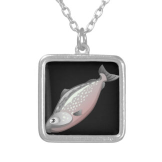 Glitch Food salmon Silver Plated Necklace