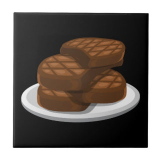 Glitch Food simple bbq Ceramic Tile