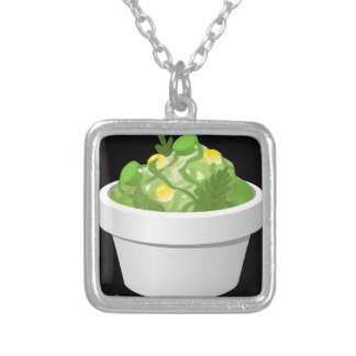 Glitch Food simple slaw Silver Plated Necklace