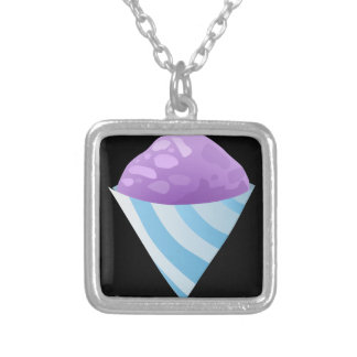 Glitch Food sno cone purple Silver Plated Necklace