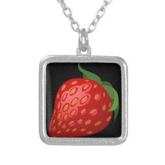 Glitch Food strawberry Silver Plated Necklace
