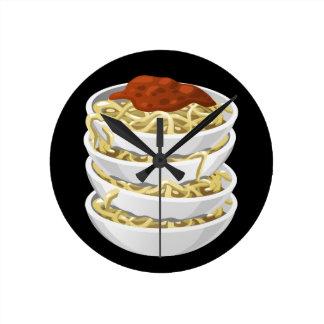 Glitch Food tasty pasta Round Clock