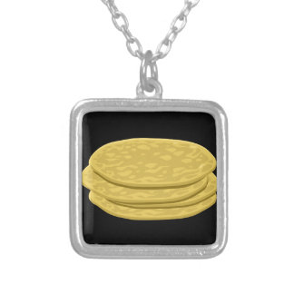 Glitch Food tortilla Silver Plated Necklace