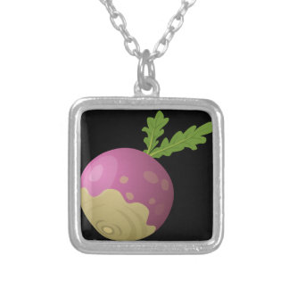 Glitch Food turnip Silver Plated Necklace