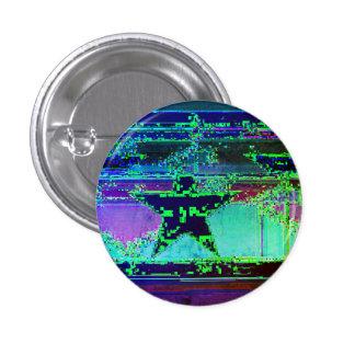 glitch star 3 cm round badge