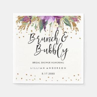 Glitter Amethyst Brunch and Bubbly Bridal Shower Disposable Serviette