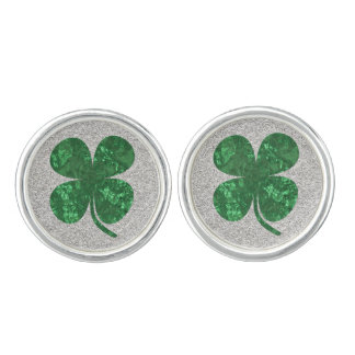 Glitter and Foil Look Shamrock Cuff Links