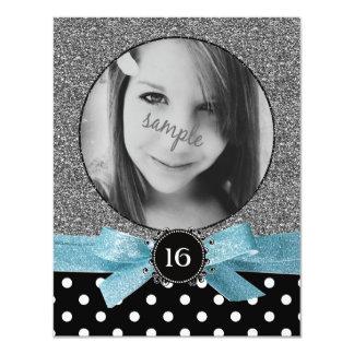 Glitter and Polkadots Photo Sweet 16 11 Cm X 14 Cm Invitation Card