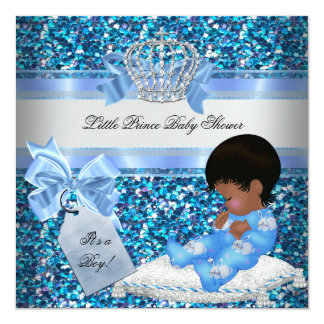 Glitter Baby Shower Boy Blue Little Prince Bunnies 13 Cm X 13 Cm Square Invitation Card