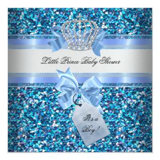 Glitter Baby Shower Boy Blue Little Prince Crown Card
