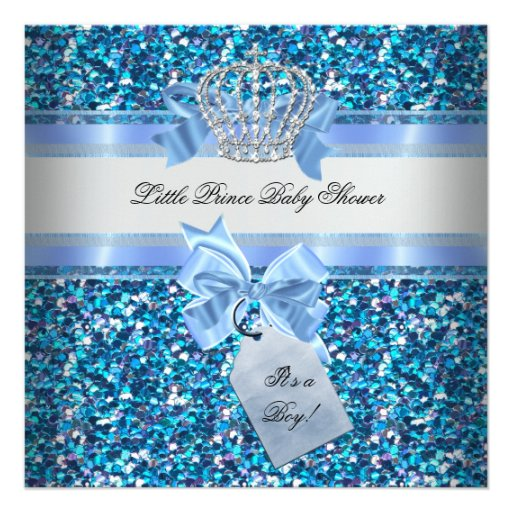 Glitter Baby Shower Boy Blue Little Prince Crown Invitations