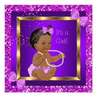 Glitter Baby Shower Girl Purple Pink Ethnic Card